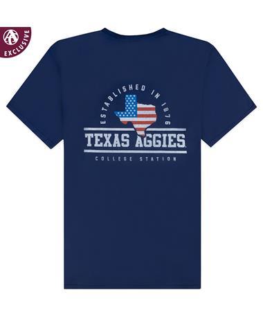 Texas A&M Aggies Arched Texas American Flag T-Shirt