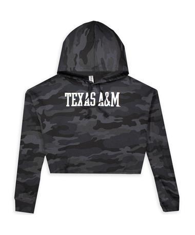 Texas A&M Lia Camo Crop Hoodie