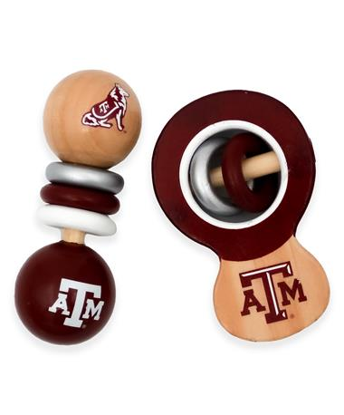 Texas A&M 2-Piece Wood Rattle Set
