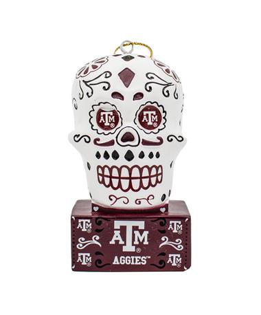 Texas A&M Sugar Skull Ornament