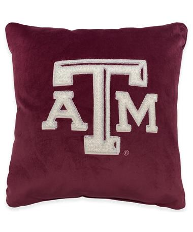 Texas A&M Chenille Embroidered Pillow