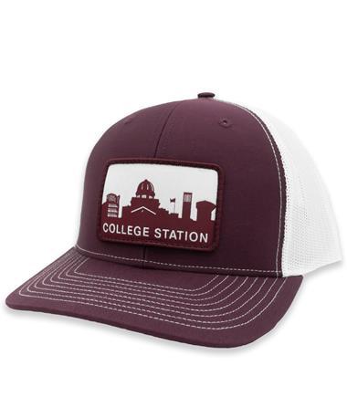 Maroon College Station Skyline Patch Richardson Mesh Hat