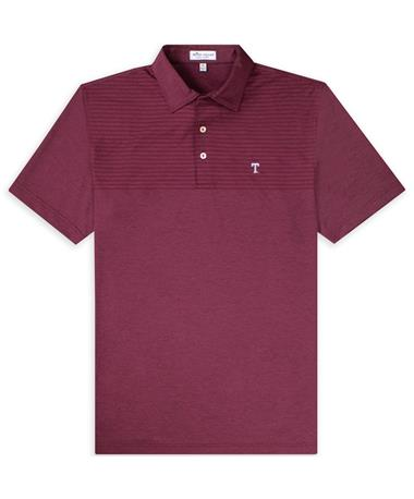Texas A&M Peter Millar Slims Engineered Striped Stretch Block T Polo