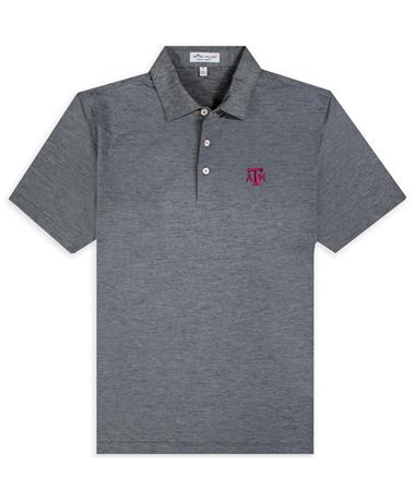 Texas A&M Peter Millar Engineered Striped Block ATM Jersey Polo