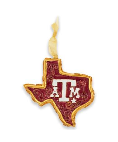 Texas A&M Aggies Kitty Keller Maroon and Gold Texas Shaped Ornament
