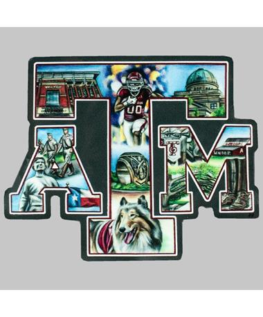 Texas A&M Picture Block ATM Dizzler Sticker