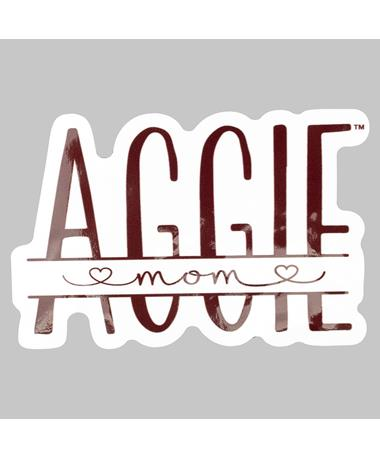 Maroon Aggie Mom Hearts Dizzler Sticker