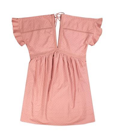 Pink V Neck Open Back Dress