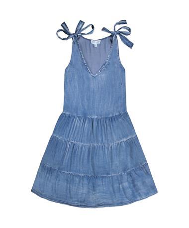 Sleeveless Tie Washed Denim Tiered Dress