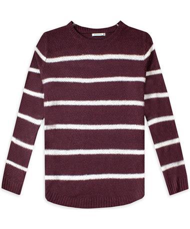 Maroon Stripe Textured Crew Sweater