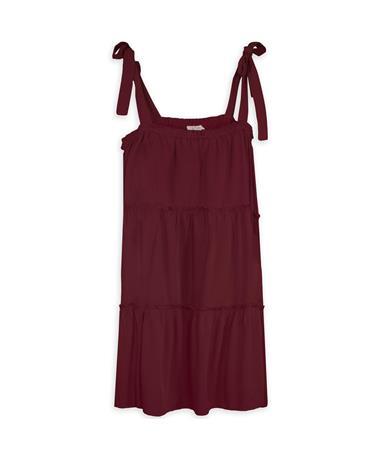 Maroon Tie Strap Tiered Dress