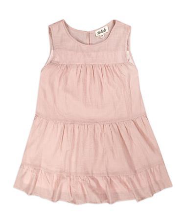Pink Linen Tiered Sleeveless Ruffle Top