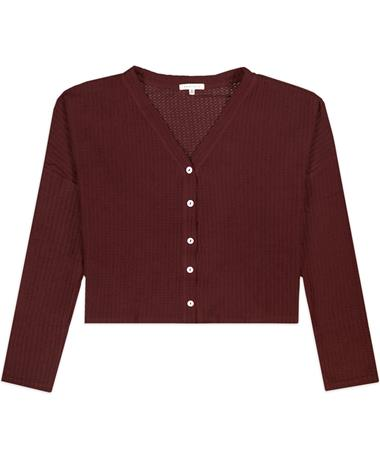 Maroon Waffle Button Down Top