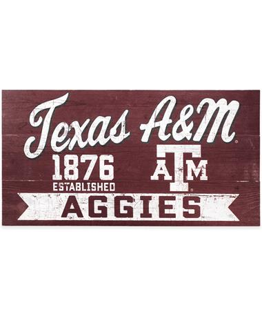 Texas A&M Maroon & White Wood Sign