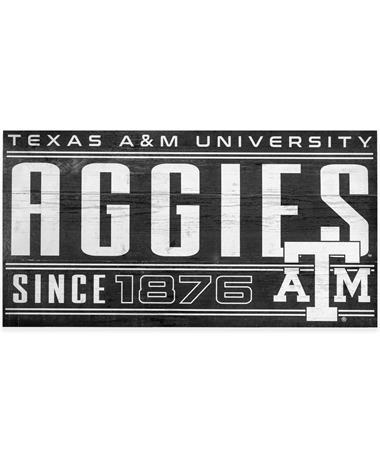 Texas A&M Aggies Black & White Wood Sign