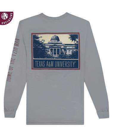 Texas A&M Black & White Academic Building Long Sleeve T-Shirt