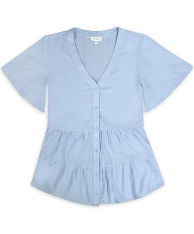 Sky Blue Tiered Button Top