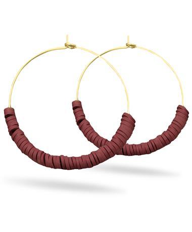 Maroon & Gold Hoop Earrings