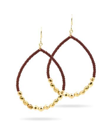 Maroon & Gold Teardrop Earrings