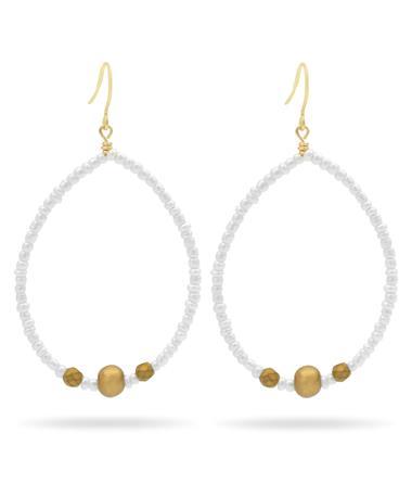 White Pearl Teardrop Earrings