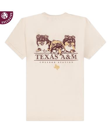 Texas A&M Collie Puppies Comfort Wash T-Shirt