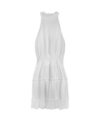 White High Neck Ruffle Dress