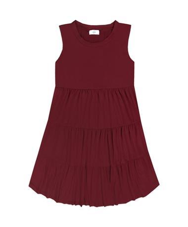Maroon Tiered Sleeveless Dress