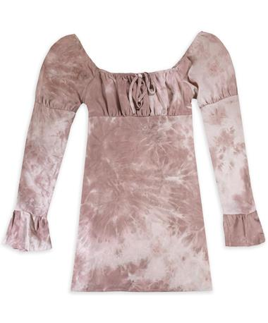 Mauve Puff Sleeve Dress