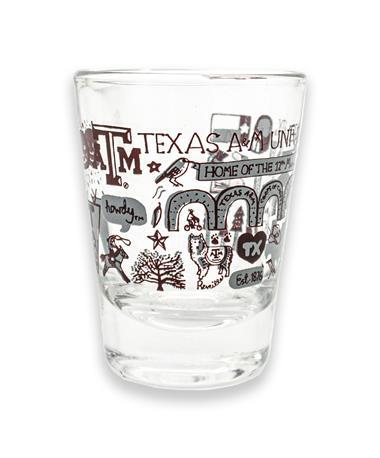 Texas A&M Julia Gash Collage Shot Glass