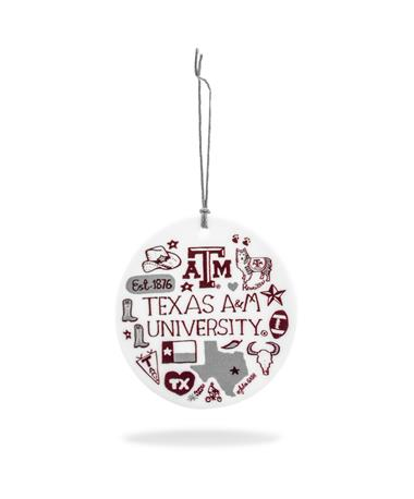 Texas A&M Collage Ceramic Ornament