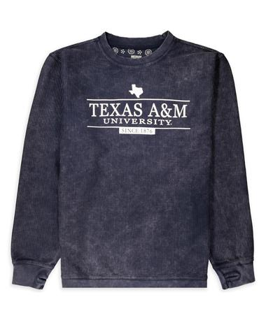 Texas A&M Navy Bar State Comfy Corduroy Pullover