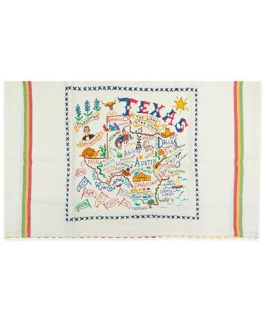 Texas CatStudio Embroidered Dish Towel