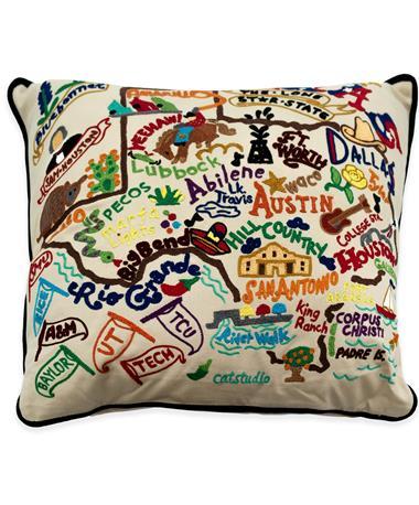 Texas CatStudio Embroidered Pillow
