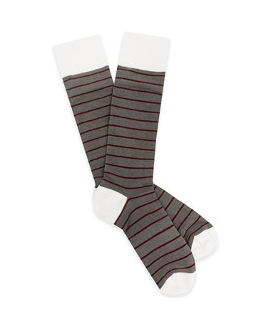 Maroon & Gray Wide Stripe Dress Sock