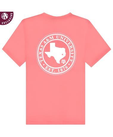 Texas A&M Basic Circle Seal Poppy T-Shirt