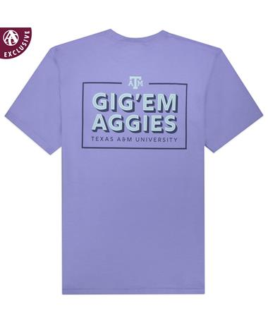 Texas A&M Gig 'Em Aggies Lavender Box T-Shirt