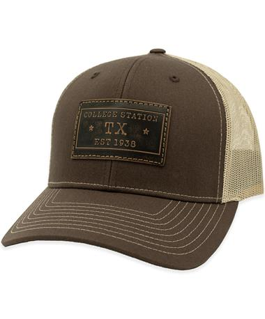 College Station Leather Patch Mesh Back Hat