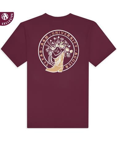 Texas A&M Aggies Flower Boot & Hat Circle T-Shirt