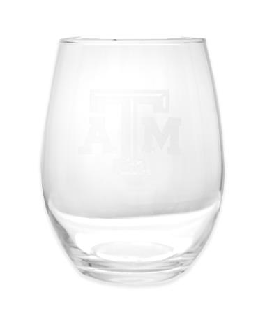Texas A&M Etched Stemless Wine Glass