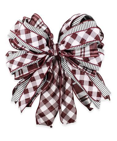 Maroon & White Striped Plaid Bow