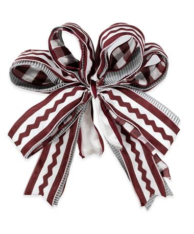 Maroon & White Squiggly Ribbon Bow