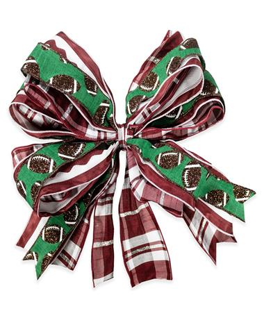 Maroon White & Green Football Bow