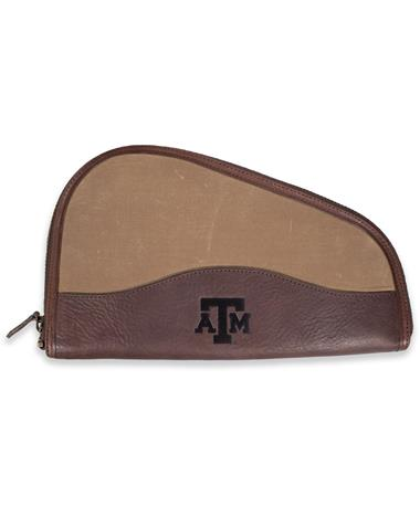 Texas A&M Mission Mercantile Leather Wing Waxed Canvas Pistol Case