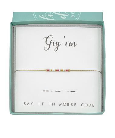 Texas A&M Gig 'Em Morse Code Bracelet