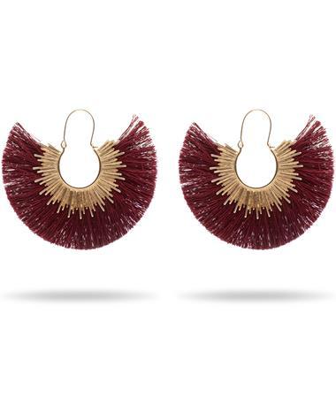 Maroon Fan Tassel Earrings