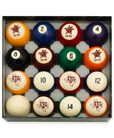 Texas A&M Standard Color Billiard Ball Set