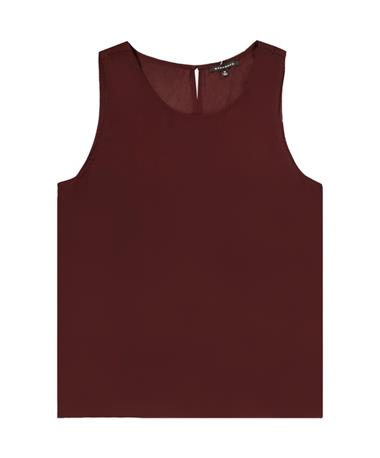 Maroon Round Neck Keyhole Button Back Top