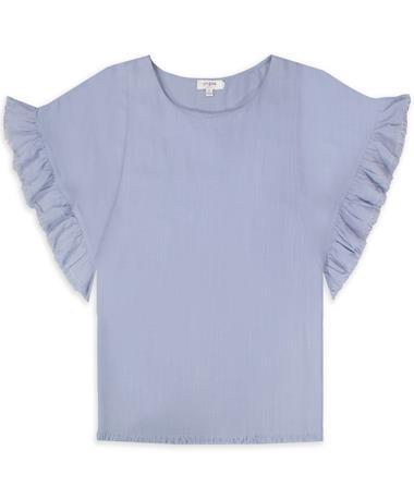 Ruffle Round Neck Top Frayed Hem Shirt
