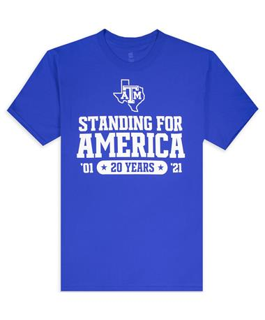 Texas A&M Standing for America 20 Year Blue Remembrance T-Shirt
