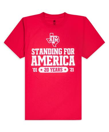 Texas A&M Standing for America 20 Year Red Remembrance T-Shirt